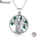 BAMOER Popular 925 Sterling Silver Rely Tree of Life Pendant Necklaces Clear Green CZ Women <b>Fashion</b> <b>Jewelry</b> Brincos Gift SCN094