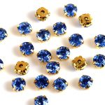 Sapphire Dark blue color Crystal DIY Stone With Metal silver Gold Claw Claw Setting For Sewing On <b>Jewelry</b>,Dress,Clothes <b>making</b>