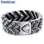 TrustyLan 25MM Wide Heavy Mens Bracelets Punk Skull Bracelet Men Biker Motorcycle <b>Jewelry</b> Stainless Steel Wrap Bracelet Bangles