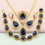 WPAITKYS Blue Cubic Zirconia Gold Color <b>Jewelry</b> Set For Women Turkish <b>Jewelry</b> Earrings Pendant Ring Bracelet Free Gift Box