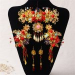Chinese Style Handmade Red Crystal Bridal <b>Jewelry</b> Sets Headdress Hair Accessories Imitation Pearl Gold Color Wedding Earrings