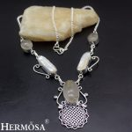 Charm Christmas Gift Natural Biwa Pearl Gold Rutiled Quartz 925 Sterling Silver Necklace For Women Party <b>Handmade</b> <b>Jewelry</b> NY636