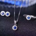 Natural blue sapphire jewelry sets natural gemstone ring Pendant <b>Earrings</b> S925 <b>silver</b> Elegant Simple elegant round fine jewelry
