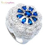 Yunkingdom Water Drop Blue Cubic Zirconia Fashion Flower Rings for Women Fashion Fine <b>Jewelry</b> Valentine's Gift