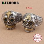 BALMORA 1 Piece 100% Real Pure 925 Sterling Silver <b>Jewelry</b> Vintage Skull Open Silver Rings for Women Men Party Gifts HTR001