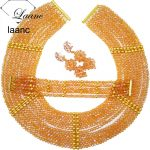 <b>Handmade</b> New Gold AB Crystal Beaded Costume Nigerian African Wedding Beads <b>Jewelry</b> Necklaces Set CHK002