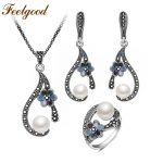 Feelgood Individuality Vintage Silver Color Jewellery Exquisite Enamel Small Flower And Imitation Pearl <b>Jewelry</b> Sets For Women