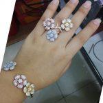 GODKI Luxury Big Delicate Luxury Gemoetric Flower Cubic Zirconia Party <b>Wedding</b> Saudi Arabic Dubai Bangle Ring Set