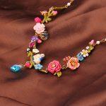 French Dyxytwe Enamel glaze Crystal <b>Necklace</b> Fashion Flowers birds <b>Jewelry</b> For Women Trendy Party <b>Jewelry</b>