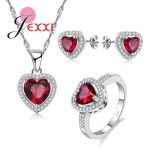 Jemmin 925 Sterling <b>Silver</b> Jewelry Set Lovely Red Heart Shiny CZ Crystal Women Girl Necklace <b>Earring</b> Ring Sets Drop Shipping