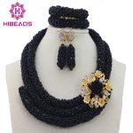 Trendy Black Wedding Fashion Women Beads Costume African Beads <b>Jewelry</b> Set <b>Handmade</b> <b>Jewelry</b> Accessories Free Shipping ABL616