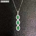 Genuine Emerald Gem Pendants Natural Stone 925 <b>Sterling</b> <b>Silver</b> Women Fine <b>Jewelry</b> Necklace