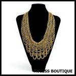 Fashion design <b>jewelry</b> boutique vintage multi layer <b>antique</b> gold Color link chain brazil style chunky statement necklace women