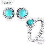 Beagloer Luxury 925 Sterling <b>Silver</b> Birthday Blooms Stud Earrings Rings For Women Original Authentic <b>Jewelry</b> Set PSST0030-B