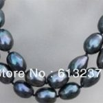 Charms style AAA 8-9mm fashion black south sea pearl <b>making</b> hot sale necklace 35″ MY4547