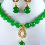 Prett Lovely Women's Wedding set of green gem bead necklace pendant earrings 5.23 silver-<b>jewelry</b> Natural boucle