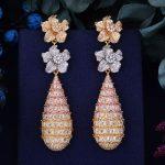 GODKI 78mm Luxury Trendy Flower Full Mirco Paved Cubic Zirconia Naija <b>Wedding</b> Drop Earring Fashion <b>Jewelry</b>