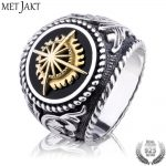 MetJakt Vintage 925 <b>Sterling</b> <b>Silver</b> Open Ring & Hand Carved Golden Sun Pattern for Personality Men Punk <b>Jewelry</b> Ring Face 2.2cm
