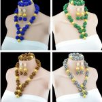 2016 New Arrival <b>Handmade</b> 9 Colors African Crystal Balls Necklace Set Chunky Beads Pendant Choker Necklace <b>Jewelry</b> Set