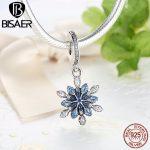 New 925 Sterling Silver Charm Blue Snowflake Pendants <b>Jewelry</b> <b>Making</b> Fit BISAER Original Bracelet Accessories WEUS240