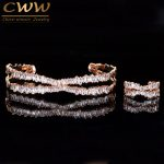CWWZircons Adjustable Size Rose Gold Color Bracelet Bangle Ring Set Trapezoid CZ Stone <b>Fashion</b> Brand Women <b>Jewelry</b> Sets T203