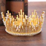 Vintage Gold Pearl Tiara Round Big Crown Crystal Rhinestones Bride Hair <b>Jewelry</b> Queen Crowns For Wedding Accessories Hairwear