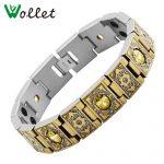 Wollet <b>Jewelry</b> Gold Tungsten Titanium Bracelet for Women Men Germanium Infrared Negative Ion Magnet Tourmaline