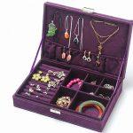<b>Fashion</b> Flannel Large Square <b>Jewelry</b> Storage Box Woode Storage Box For Girls,Necklace Rings Etc Makeup Organizer,boite a bijoux