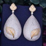 GODK 66mm Luxury Water Drop Leaf AAA Cubic Zirconia African <b>Wedding</b> Women Dress Earring Fashion <b>Jewelry</b>