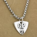 925 Sterling <b>Silver</b> Guitar Pick Skull Biker Pendant 9S022A 316L Stainless Steel <b>Necklace</b> 24 inches