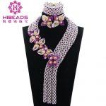 Graceful White Purple African Beads Bridal <b>Jewelry</b> Set Flower <b>Jewelry</b> Set <b>Handmade</b> Engagement African <b>Jewelry</b> Set QW1169