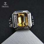 TBJ, emerald cut natural citrine men's ring in 925 sterling <b>silver</b> gemstone <b>jewelry</b>,unisex boyfriend gemstone ring with gift box