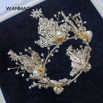High-end <b>handmade</b> beaded gold exquisite crown headband headdress bride wedding hair accessories women's <b>jewelry</b> HD417