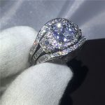 <b>Handmade</b> 3-in-1 ring White Gold Filled Engagement Wedding Band Rings for women 2ct AAAAA zircon cz Female Finger <b>Jewelry</b>