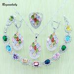 Reginababy Multi stone <b>Silver</b> color Bridal Jewelry Set For Women Wedding <b>Bracelet</b>/Necklace/Earrings/Ring bJ1019008