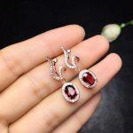 natural red garnet drop earrings 925 <b>silver</b> natural gemstone earrings women personality flame drop Earrings for wedding <b>jewelry</b>