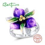 SANTUZZA Silver Ring For Women 925 Sterling Silver Fashion Rings for Women 2017 Cubic Zirconia Ringen Party <b>Jewelry</b> Enamel