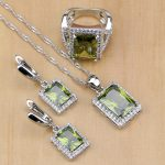 Mytic Light Olive Green CZ White Zircon 925 Sterling Silver <b>Jewelry</b> Sets For Women Earrings/Pendant/Necklace/Rings
