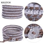 KELITCH bracelets <b>Jewelry</b> crystal Leather bracelets 5X Wrap Crystal Beaded Bracelets <b>Handmade</b> Bracelets for girls and women