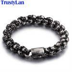 TrustyLan Punk Rock Full Skull Charm Bracelet Men High Quality Stainless Steel Best Friend Mens Bracelets 2018 Hand <b>Jewelry</b>