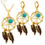 U7 Hot Gold Color <b>Jewelry</b> Set <b>Native</b> <b>American</b> Style Women Fashion <b>Jewelry</b> Set Dream Cather Necklace Earrings Set S827