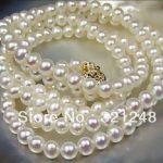 Beautiful white akoya freshwater pearl cute round 7-8mm natural beads diy popular <b>Jewelry</b> Necklace <b>making</b> 34 inch GE1090