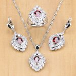 Red Zircon White Crystal 925 Silver Strawberry <b>Jewelry</b> Sets For Women Wedding <b>Accessories</b> Earrings/Pendant/Rings/Necklace Set
