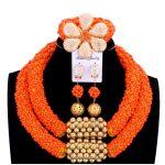 Delicate Orange Nigerian Beads <b>Jewelry</b> Sets Christmas Necklace Set of <b>Jewelry</b> African <b>Jewelry</b> Set Crystal Bridal <b>Wedding</b> Beads