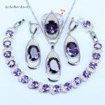 L&B Oval 925 Sterling <b>Silver</b> Jewelry Sets Purple Crystal White Zircon <b>Bracelets</b> For Women Earrings/Pendant/Necklace/Rings