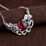 FNJ Flower Pendant <b>Necklace</b> 925 Sterling <b>Silver</b> 45cm Chain Fish Charm <b>Necklaces</b> for Women Thai S925 Solid <b>Silver</b> Jewelry Making