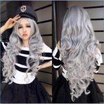 new <b>Fashion</b> Women Stone gray Long Curly Wavy Hair Full Cosplay Lolita Party Wig