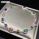 ZHHIRY Genuine Natural Tourmaline <b>Bracelet</b> 925 Sterling <b>Silver</b> <b>Bracelets</b> For Women Color Gemstone Fine Jewelry