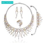 MECHOSEN Unique Design Luxury <b>Wedding</b> <b>Jewelry</b> Sets Rose Gold-color Zirconia Choker Necklace Earrings Bracelet Ring Set For Women