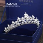 MANWII AAA zircon crowns and tiaras ali pearl bridal headwear <b>wedding</b> hair accessories for women pageant fashion <b>jewelry</b> HD2063